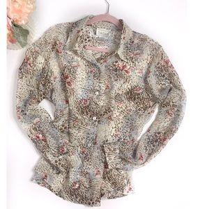 Vintage Floral Leopard Sheer Blouse